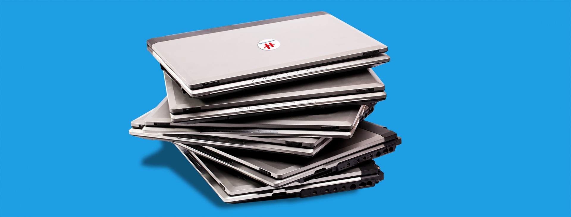 Piles of laptops